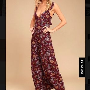 NWOT Lulus Simple Pleasure Burgundy Floral Maxi